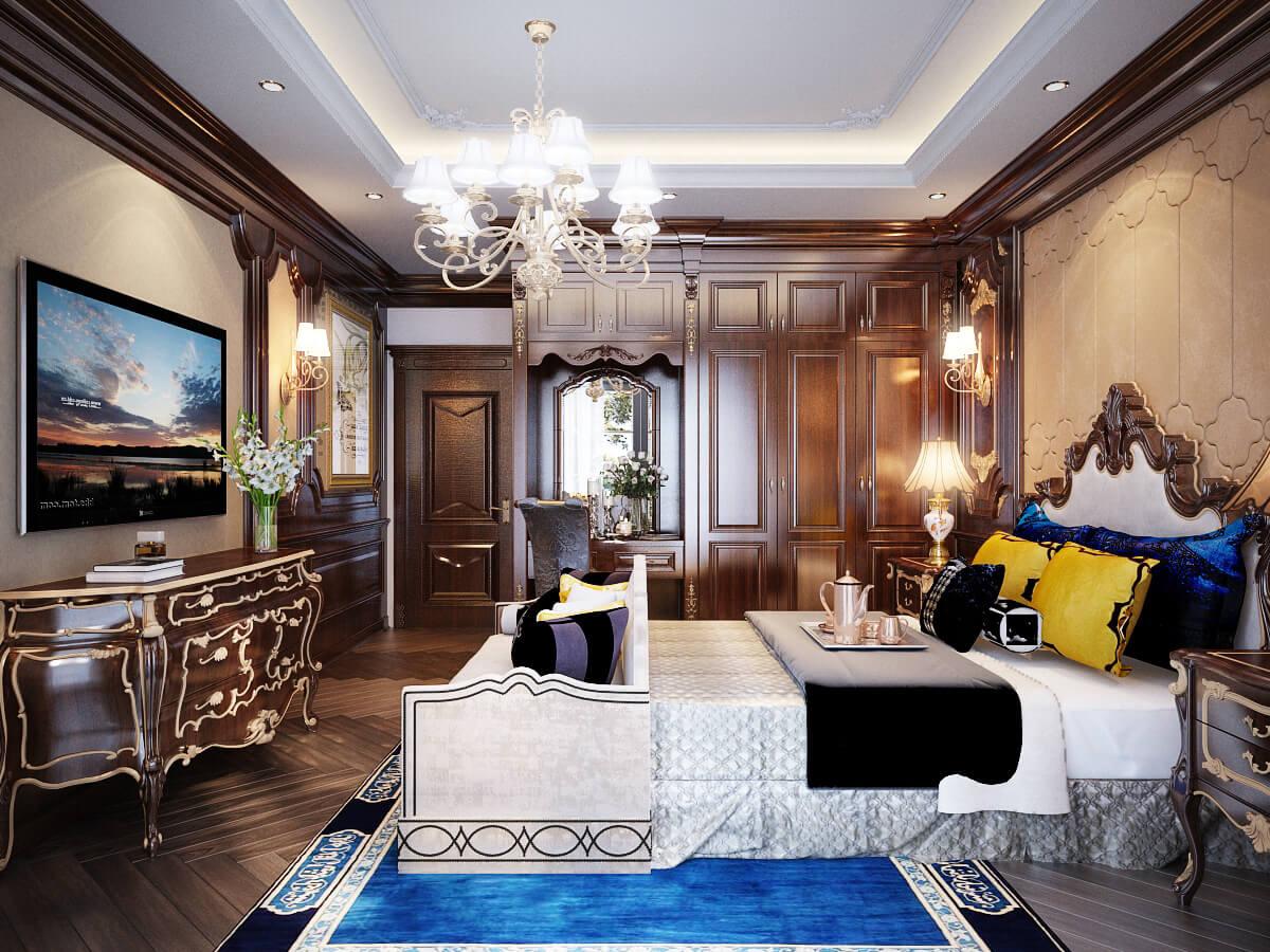 biệt thự 2 tầng áp mái phòng ngủ