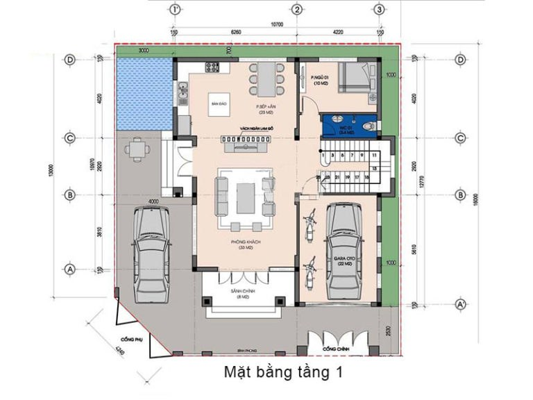 biệt thự 2 tầng có phòng thờ