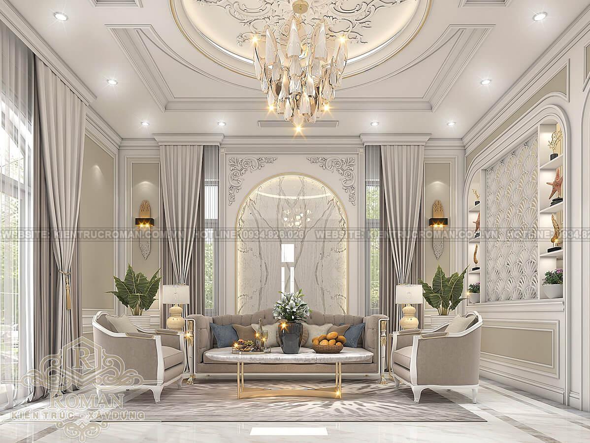 biệt thự 2 tầng có sân thượng phòng khách