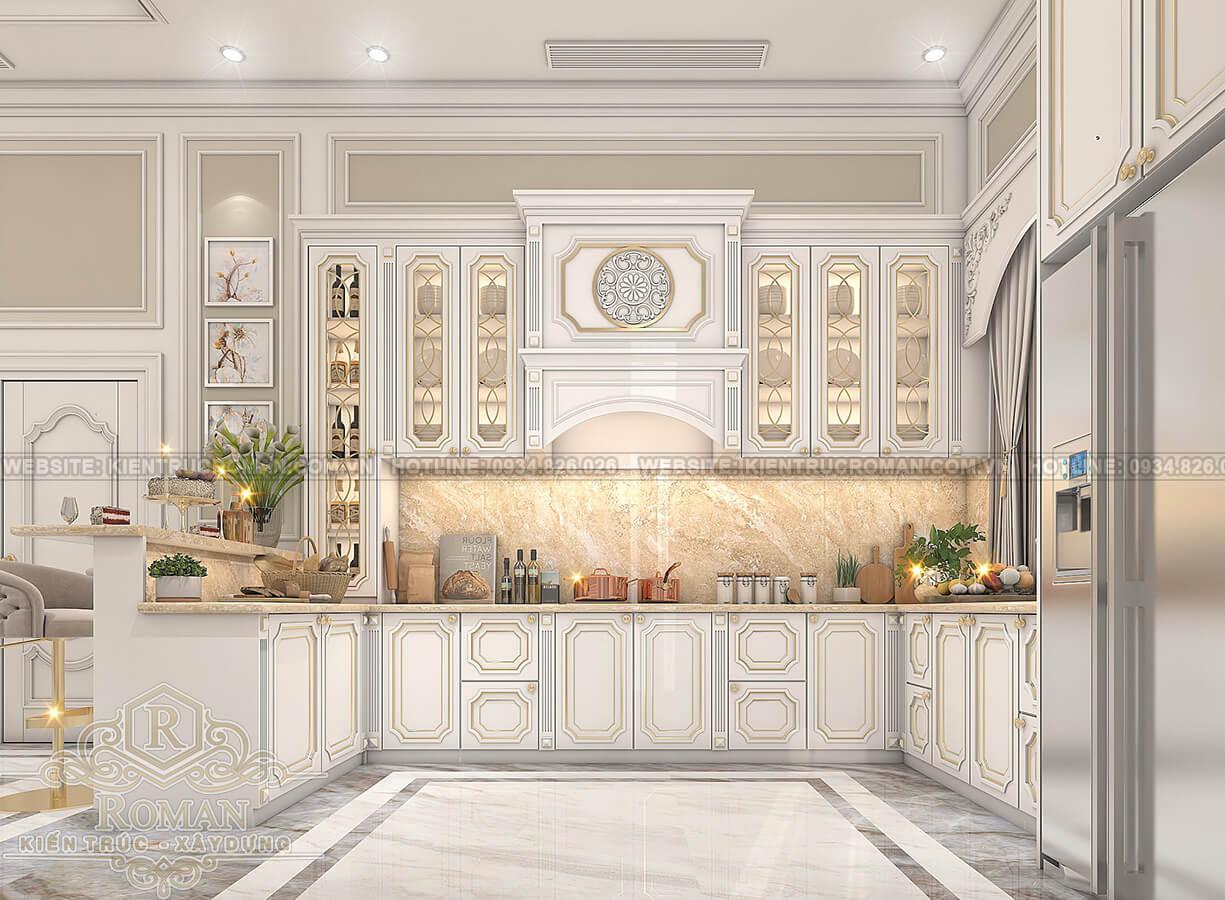 biệt thự 2 tầng có sân thượng phòng bếp