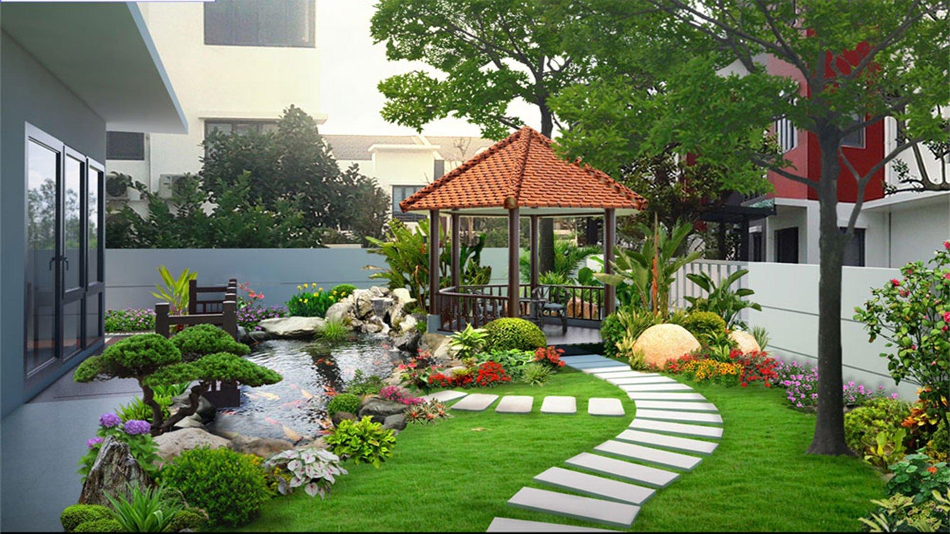 biệt thự 2 tầng có sân vườn đẹp
