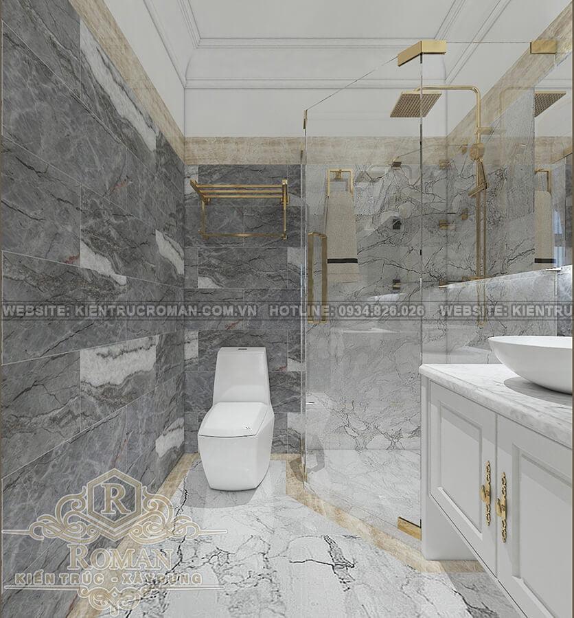 biệt thự 2 tầng kiến trúc pháp phòng tắm