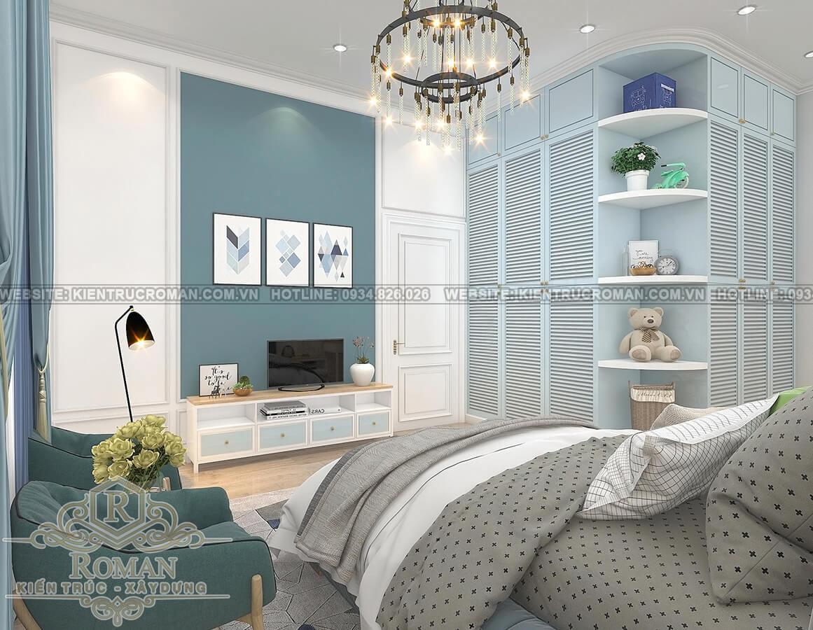 biệt thự 2 tầng kiểu châu âu phòng ngủ con trai