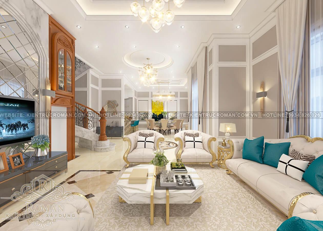 biệt thự 2 tầng kiểu châu âu phòng khách