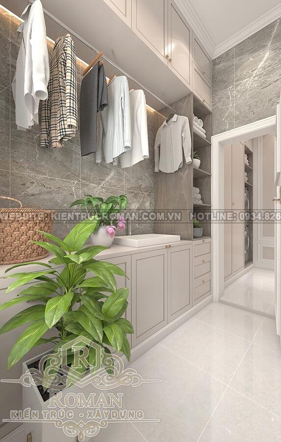 biệt thự 2 tầng kiểu châu âu phòng giặt phơi