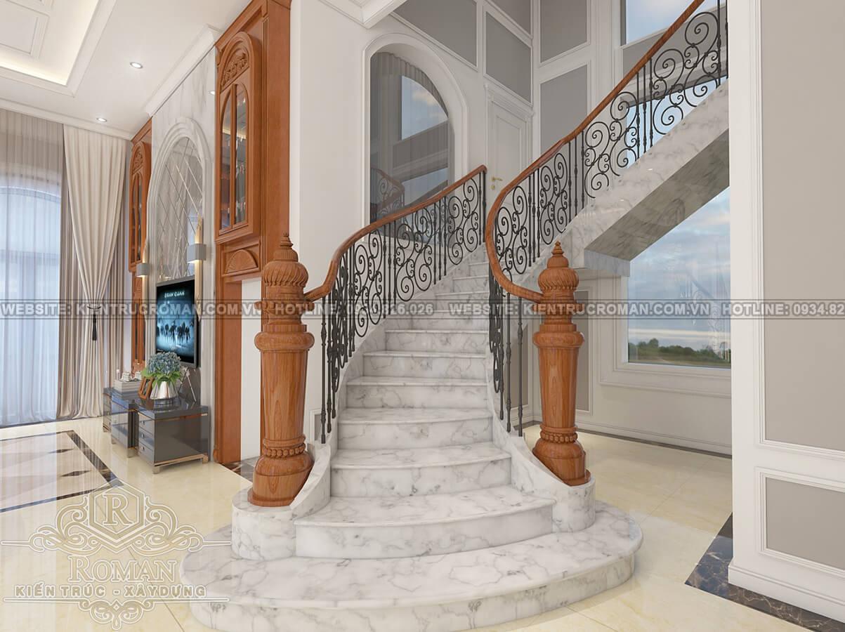 biệt thự 2 tầng kiểu châu âu cầu thang