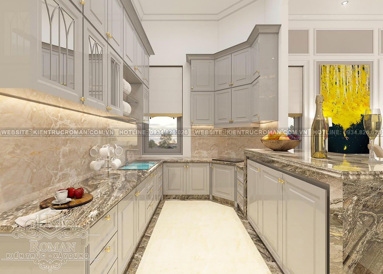 biệt thự 2 tầng kiểu châu âu phòng bếp