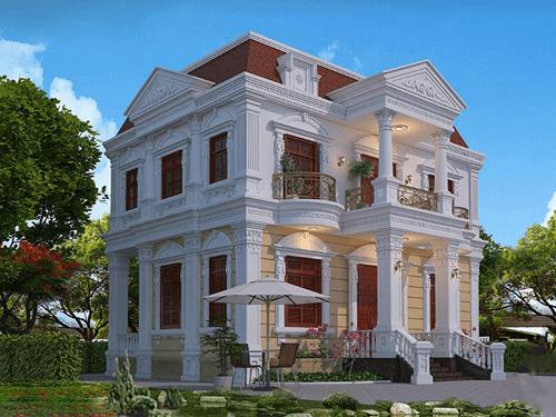 9 Mẫu biệt thự 2 tầng kiểu pháp cổ điển đẹp rạng ngời