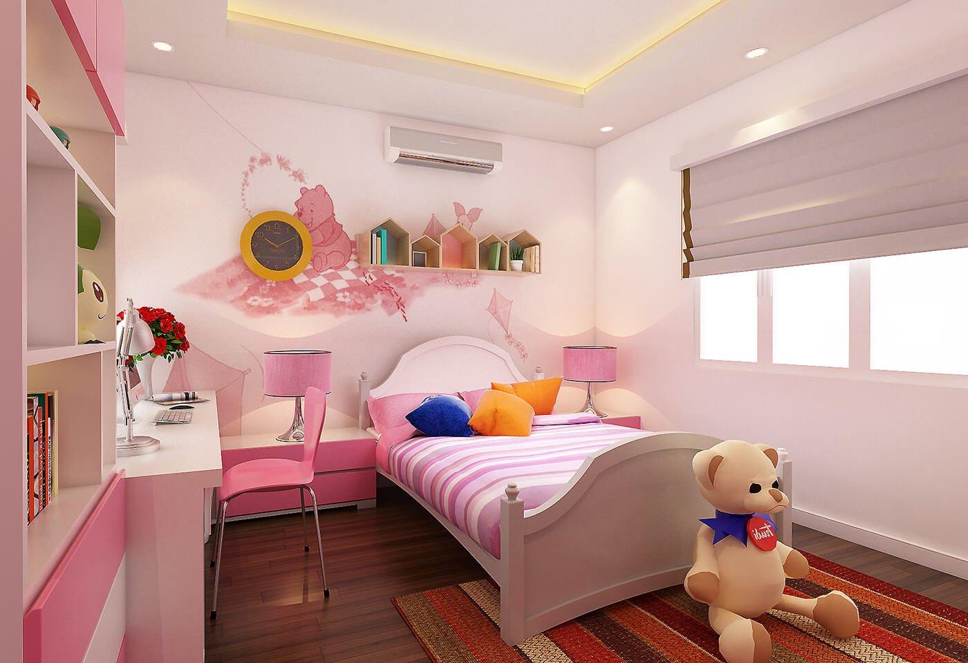 biệt thự 2 tầng mái thái phòng ngủ bé gái