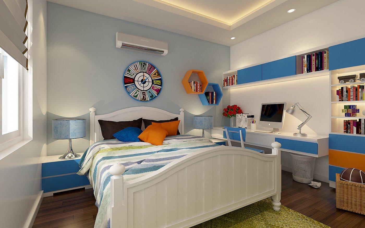 biệt thự 2 tầng mái thái phòng ngủ bé trai