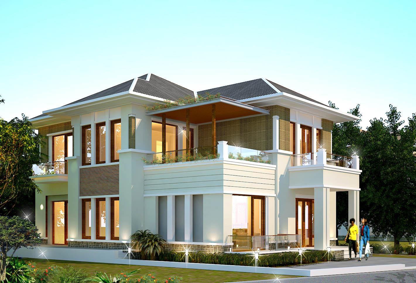 biệt thự 2 tầng mái thái hiện đại đẹp 1