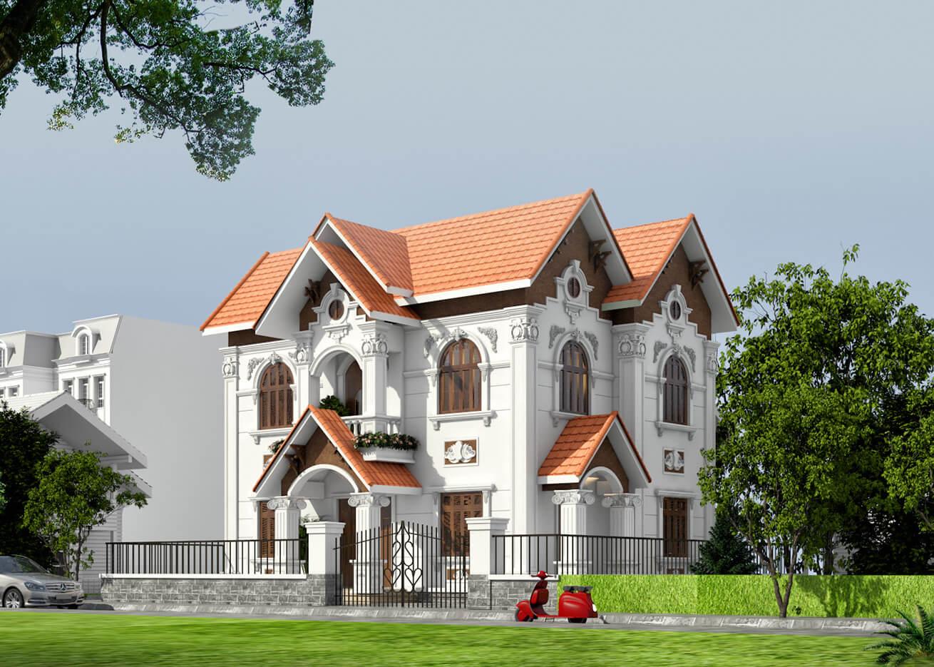 biệt thự 2 tầng mái thái tân cổ điển