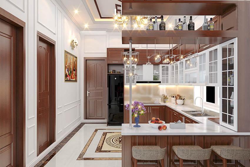 biệt thự 2 tầng mái thái tân cổ điển phòng bếp