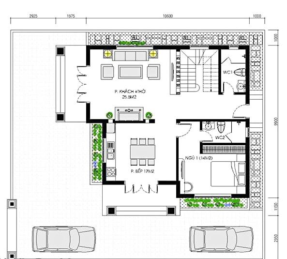 biệt thự 2 tầng mặt tiền 11m