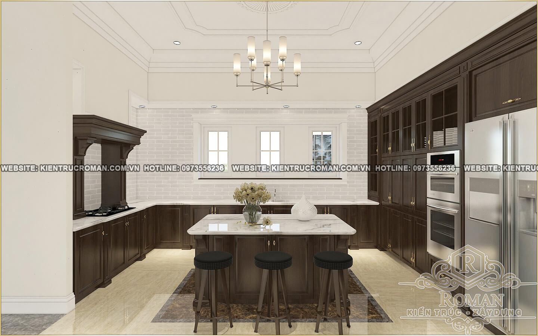 phòng ăn và nhà bếp biệt thự 2 tầng tân cổ điển