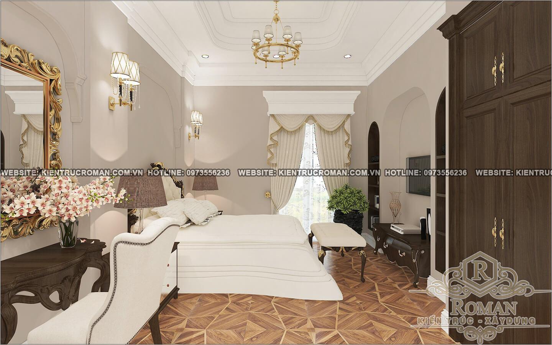 phòng ngủ lầu 1 biệt thự 2 tầng tân cổ điển