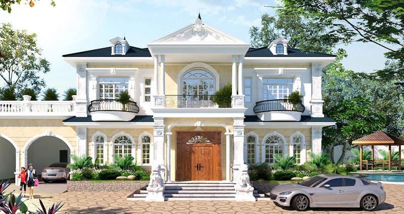 mẫu thiết kế biệt thự 2 tầng tân cổ điển hot nhất 7