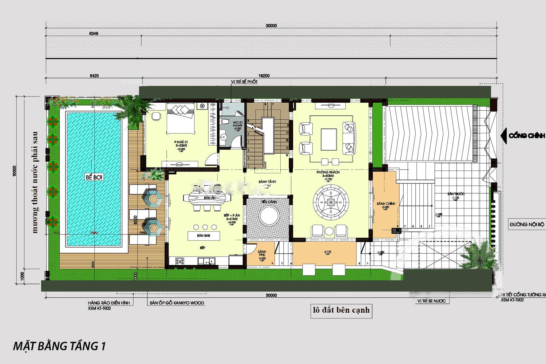 biệt thự 3 mặt tiền 3 tầng đẹp 4