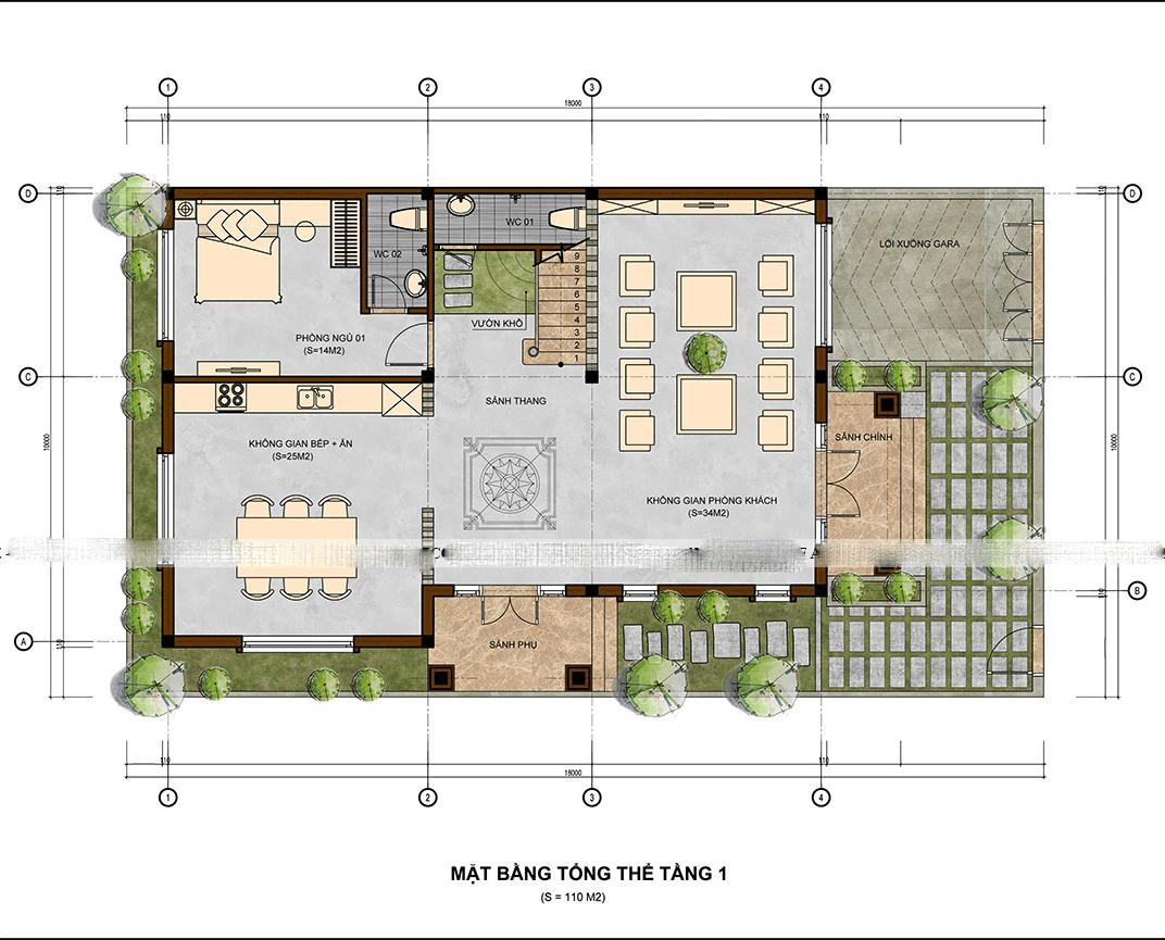 mẫu biệt thự 3 tầng 10x13m đẹp 5