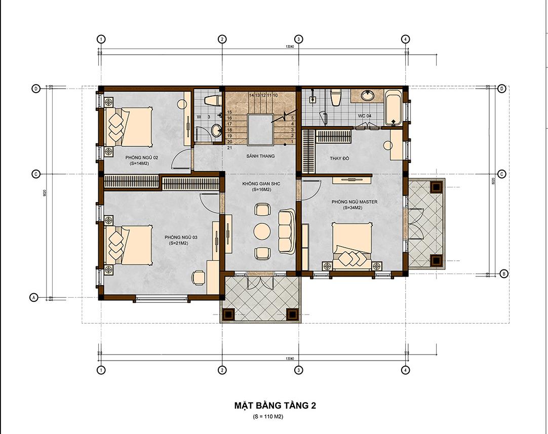 mẫu biệt thự 3 tầng 10x13m đẹp 6