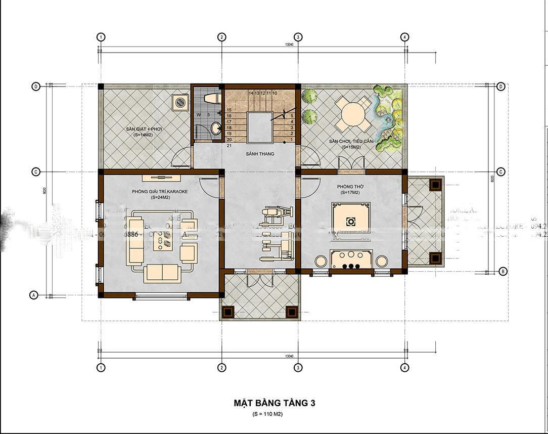 mẫu biệt thự 3 tầng 10x13m đẹp 7