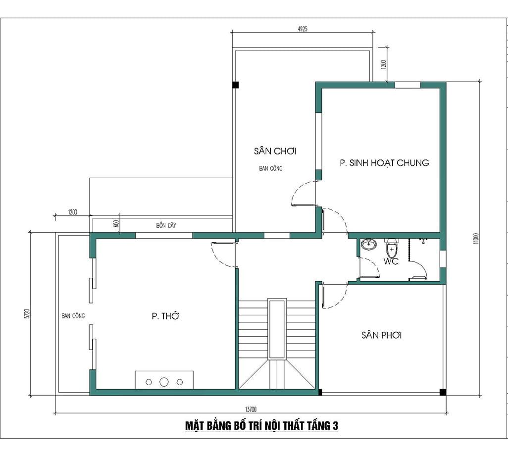 biệt thự 3 tầng 11x13m bản vẽ