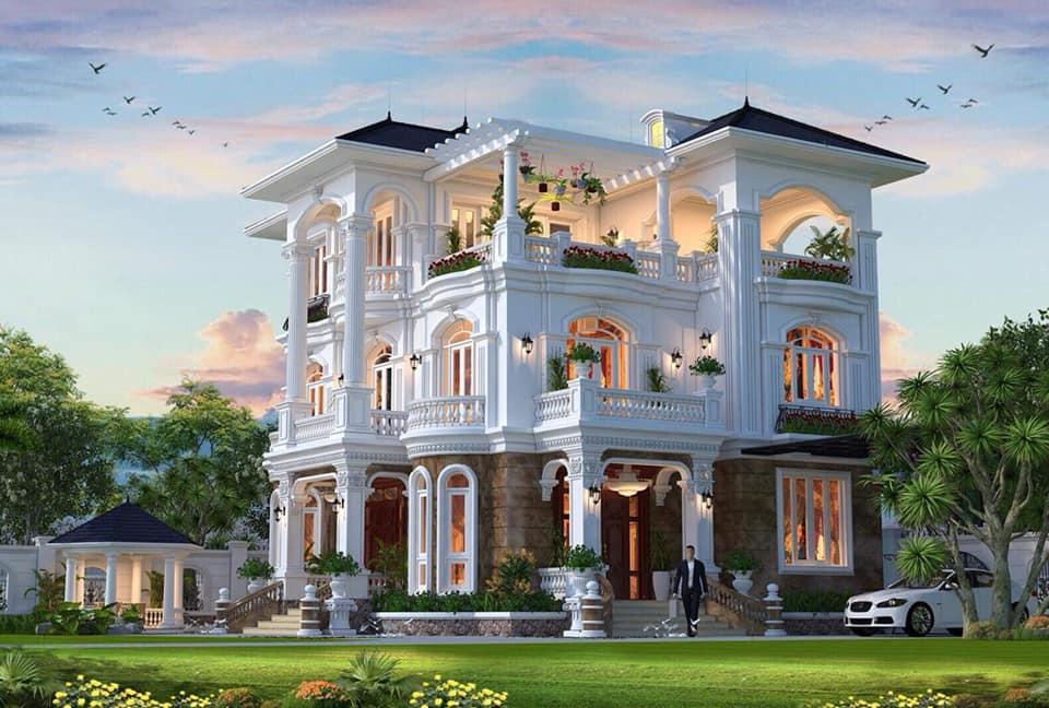 thiết kế biệt thự 3 tầng 140m2 tân cổ điển đẹp 1