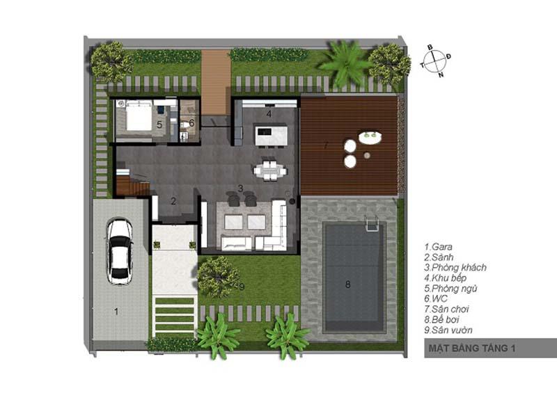 biệt thự 3 tầng 15x20m hiện đại 5