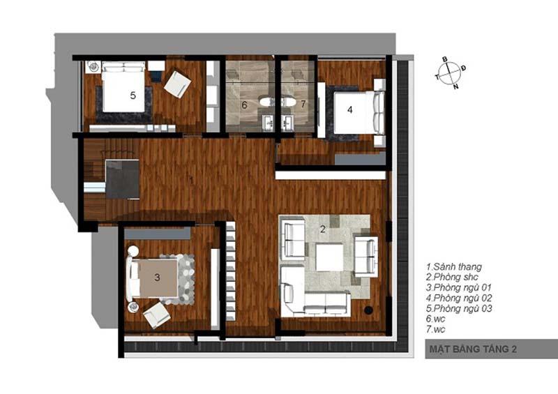 biệt thự 3 tầng 15x20m hiện đại 6