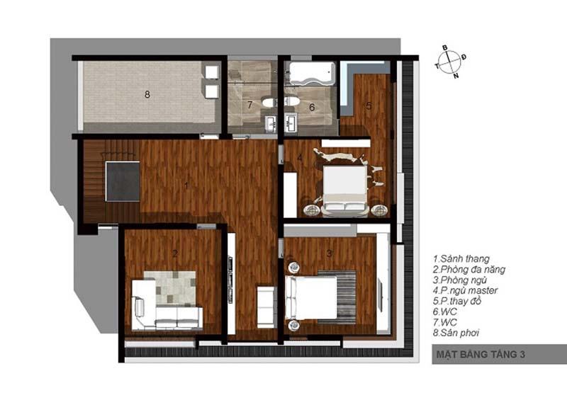 biệt thự 3 tầng 15x20m hiện đại 7