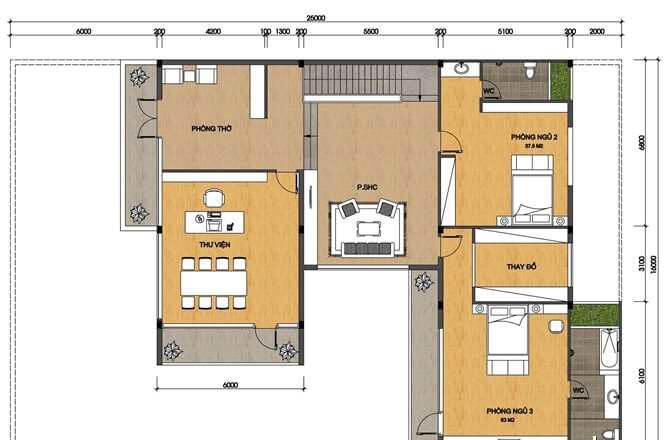 biệt thự 3 tầng 16x20m