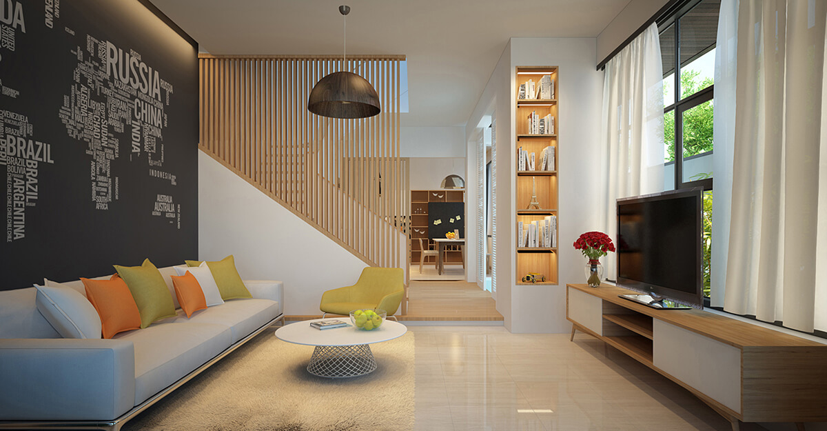 biệt thự 3 tầng 16x20m phòng khách