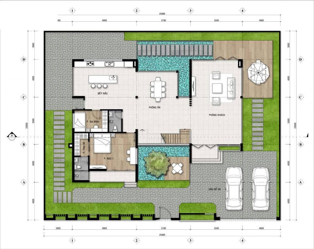 biệt thự 3 tầng 20x25m