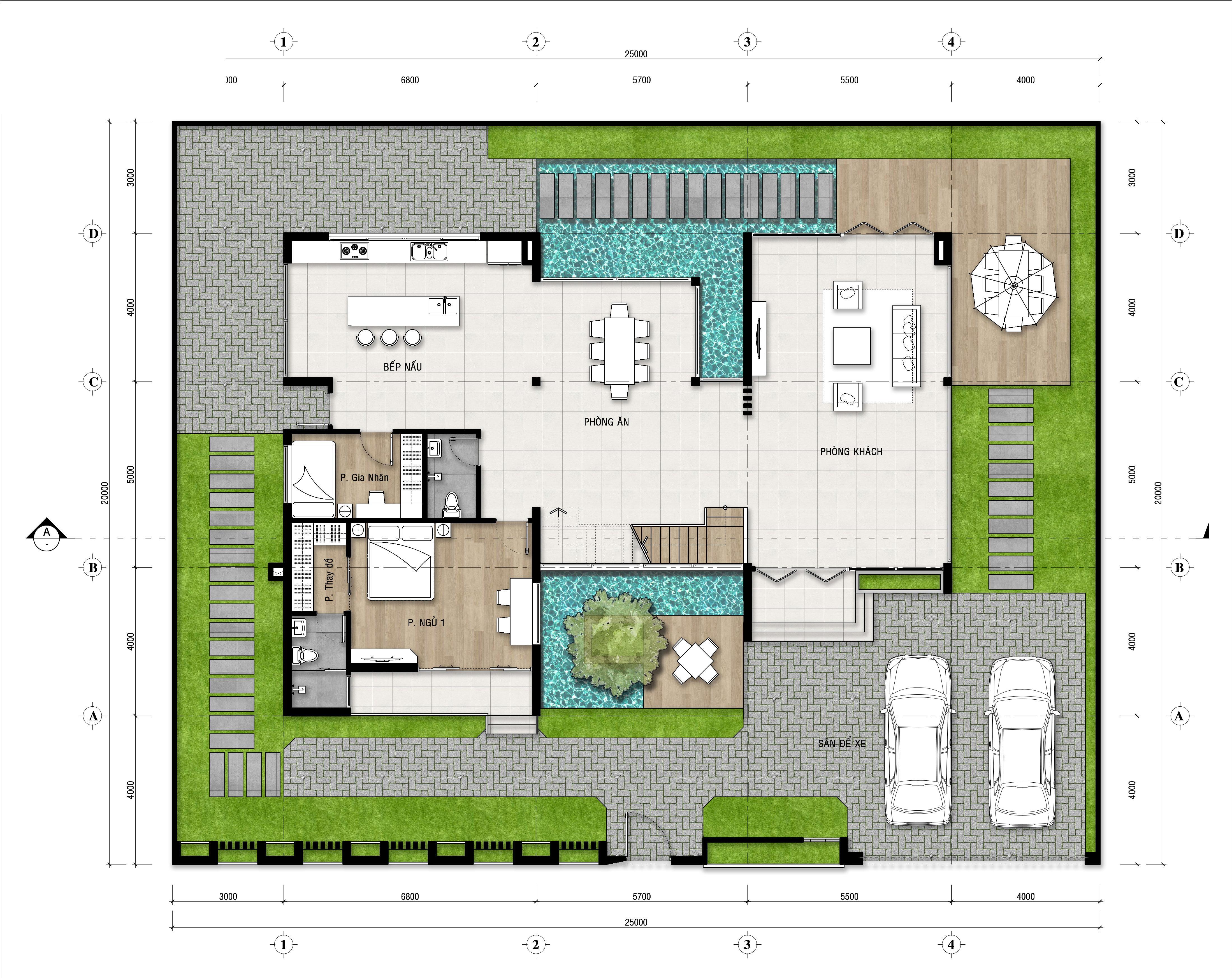 biệt thự 3 tầng hiện đại 25x20m 5