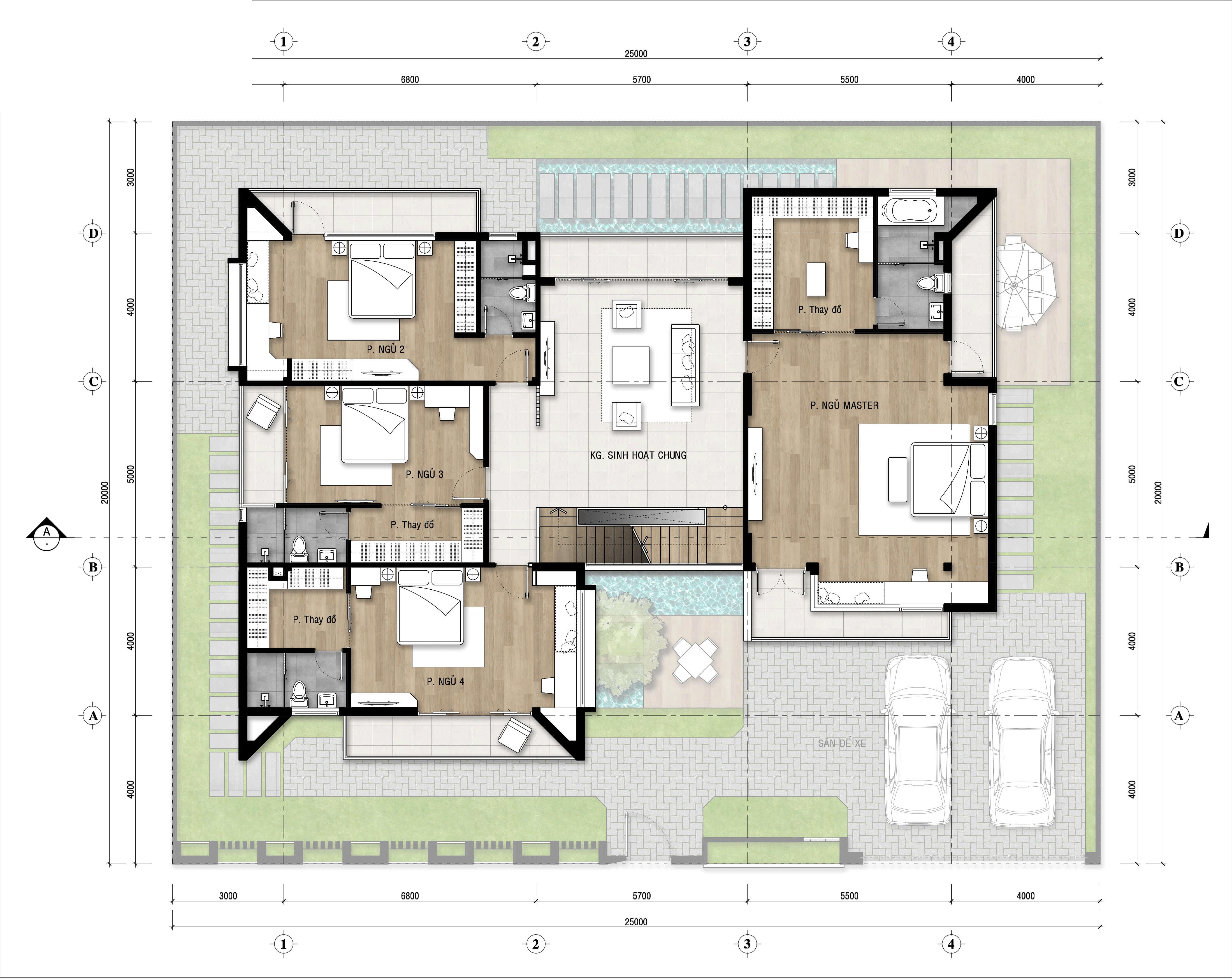 biệt thự 3 tầng hiện đại 25x20m 6
