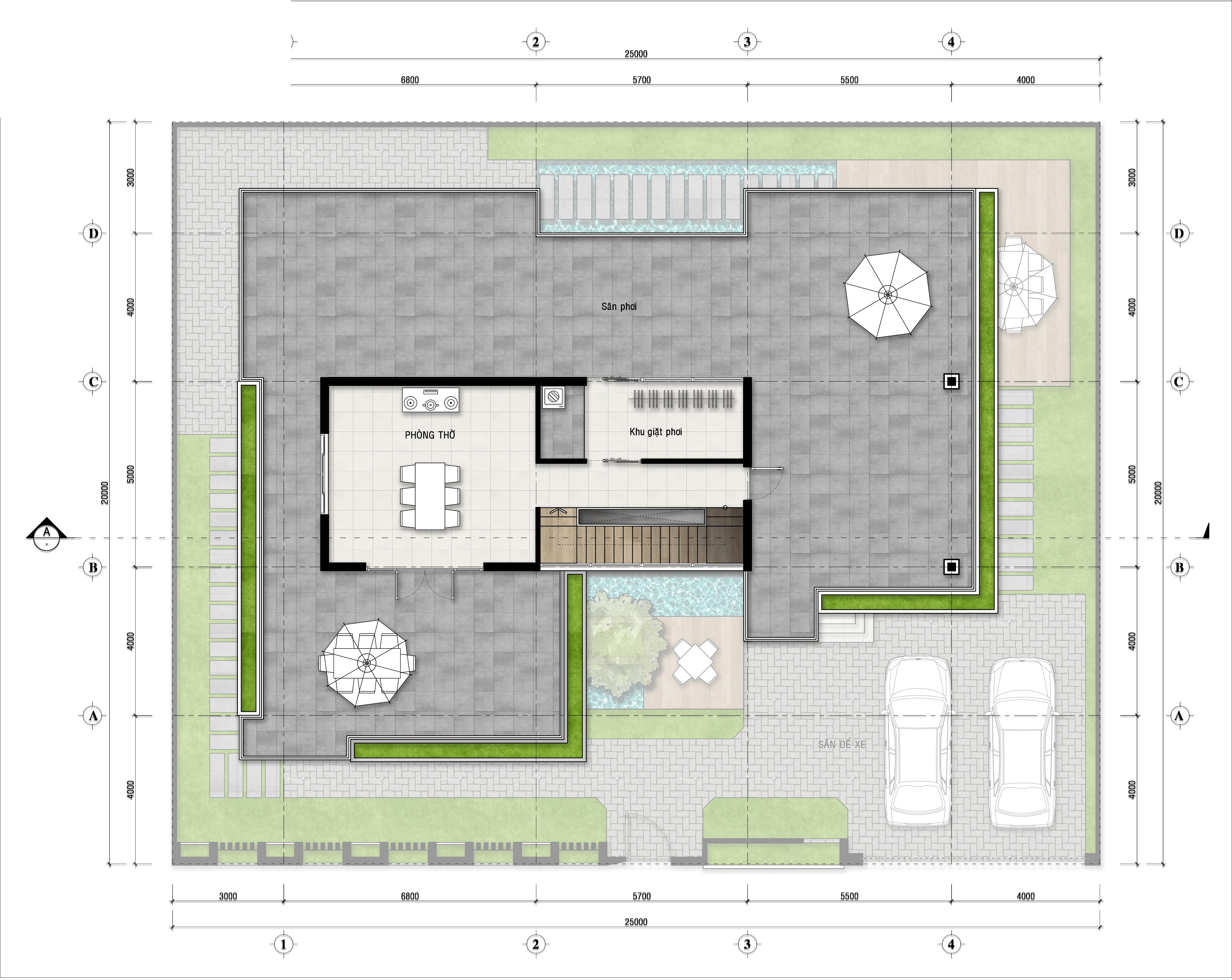 biệt thự 3 tầng hiện đại 25x20m 7