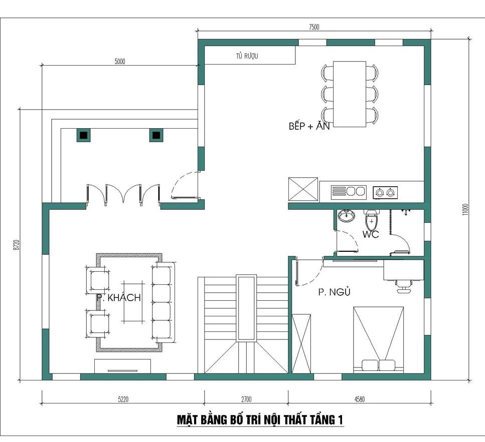 biệt thự 3 tầng 4 phòng ngủ