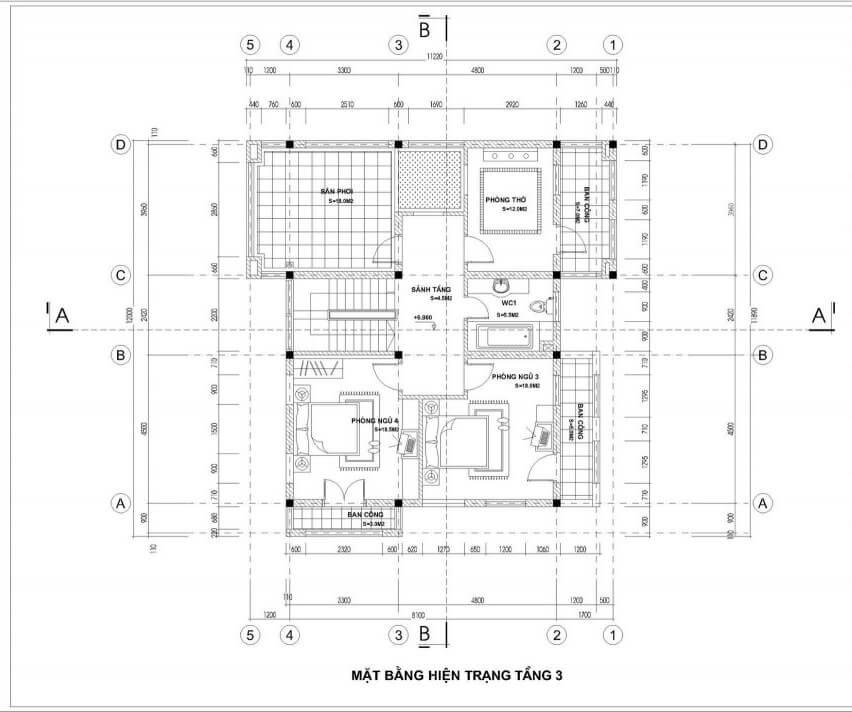 biệt thự 3 tầng 5 phòng ngủ