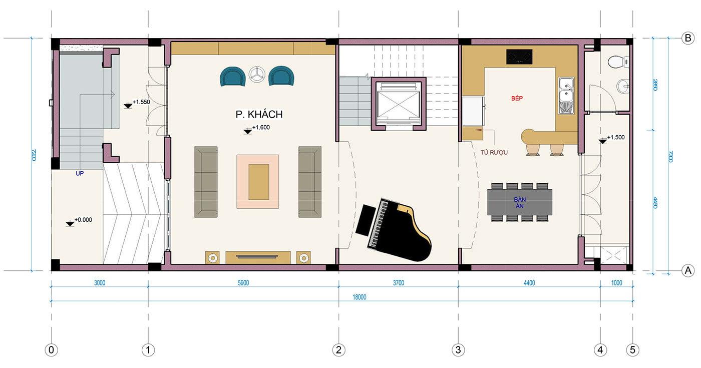 biệt thự 3 tầng 7x18m bản vẽ tầng 1