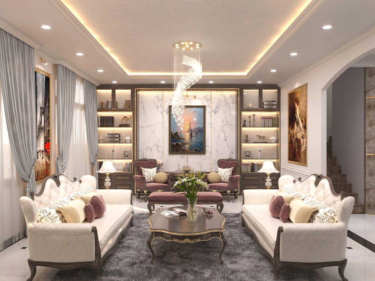 biệt thự 3 tầng 7x18m phòng khách