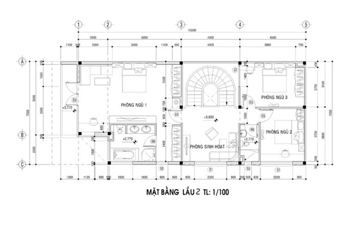 biệt thự 3 tầng 8x15m đẹp 5