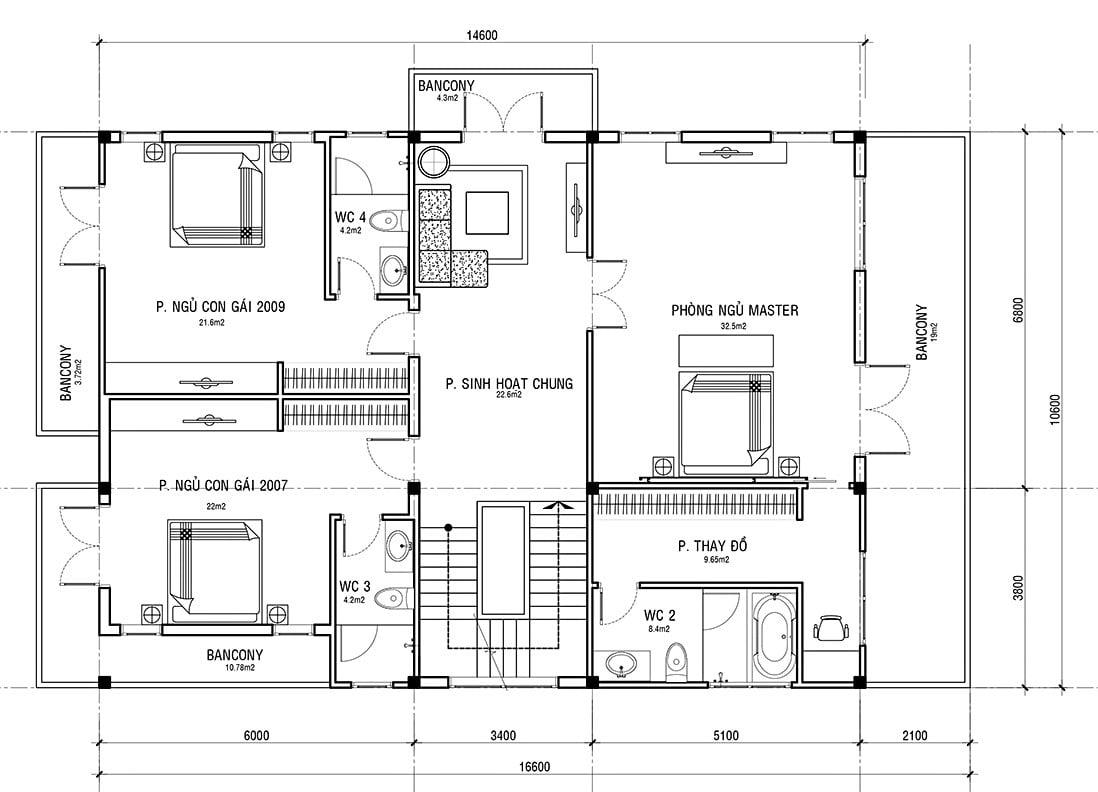 biệt thự 3 tầng có 5 phòng ngủ