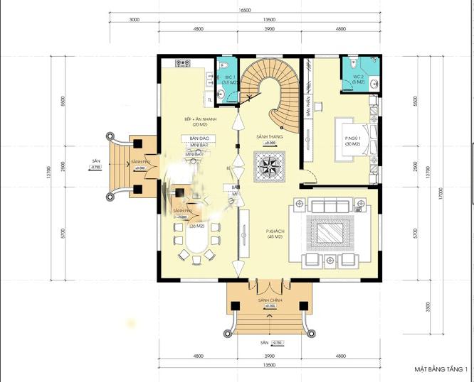 biệt thự mặt tiền 13m 3 tầng cổ điển đẹp 4