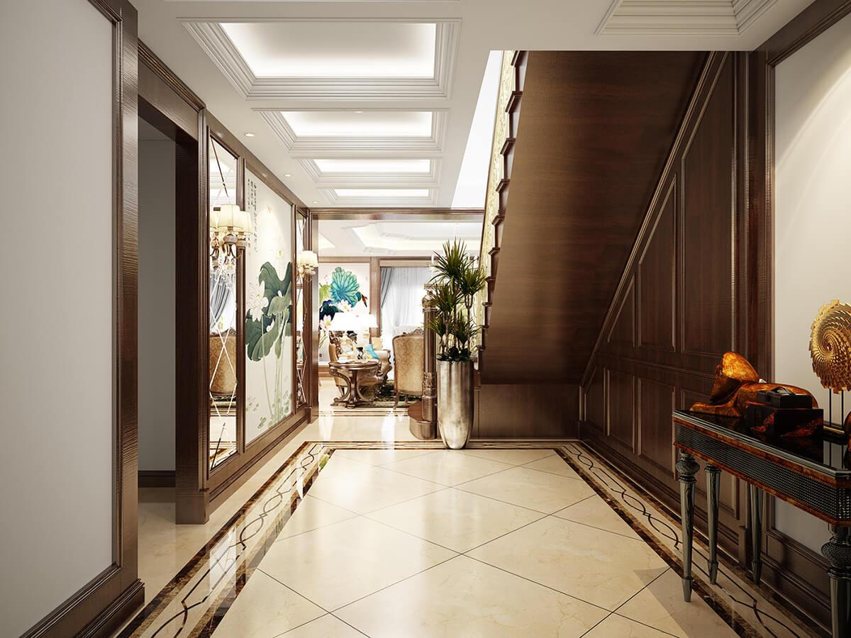biệt thự 3 tầng cổ điển lối vào