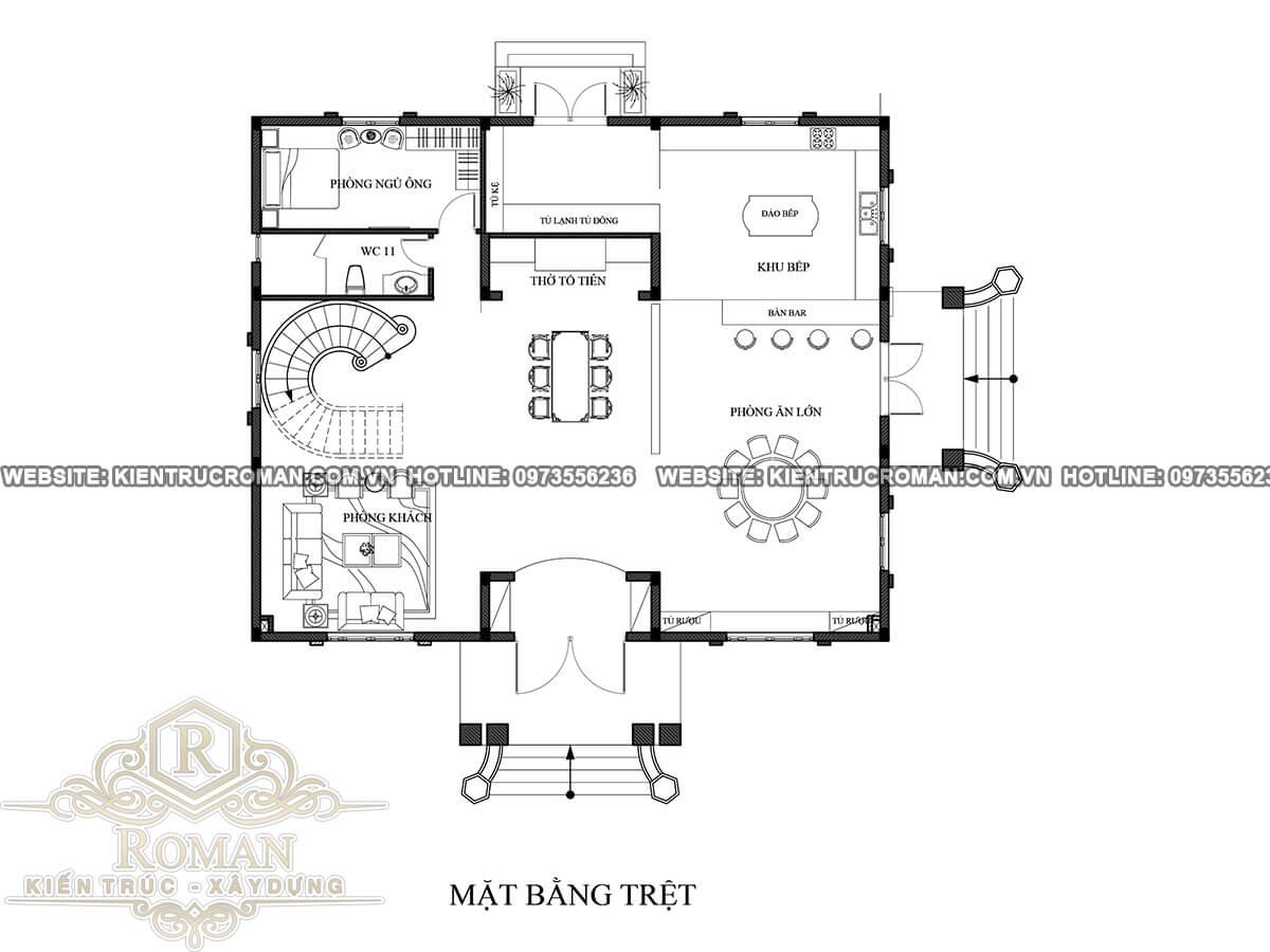mặt bằng biệt thự cổ điển 3 tầng