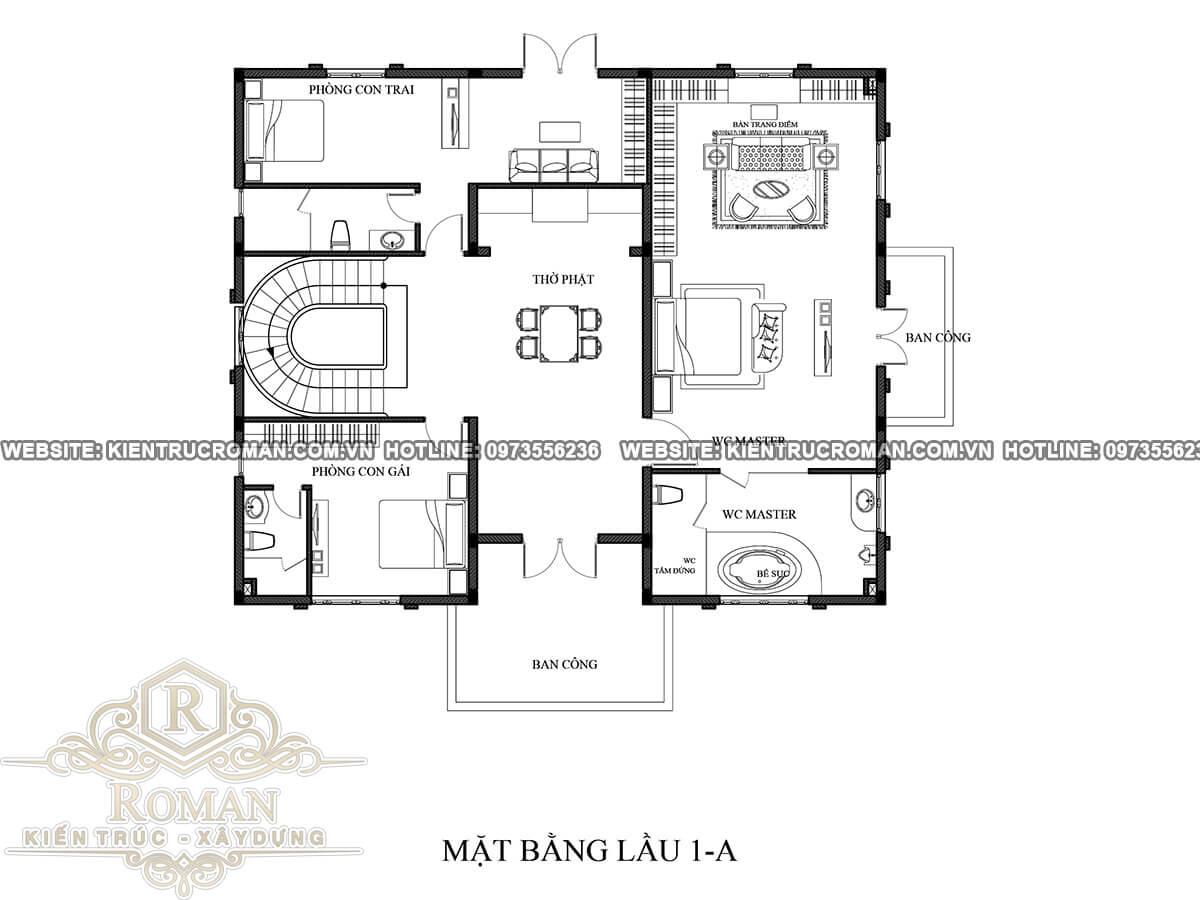 mặt bằng lầu 1 biệt thự cổ điển 3 tầng