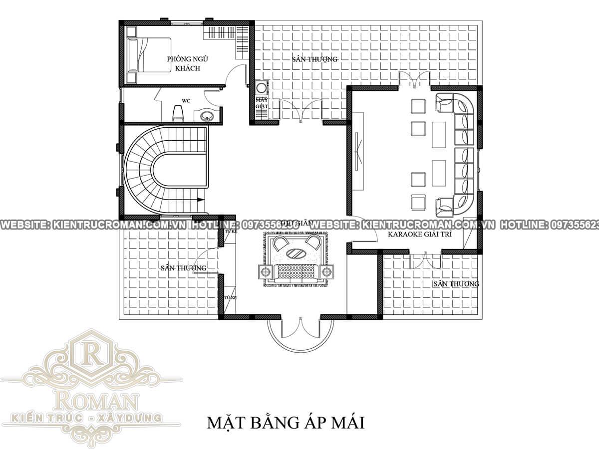 mặt bằng áp mái biệt thự cổ điển 3 tầng