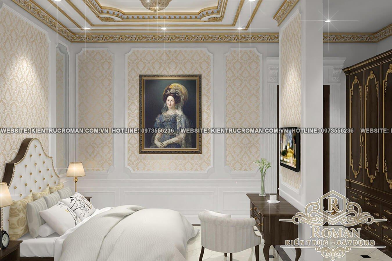 phòng ngủ biệt thự cổ điển 3 tầng