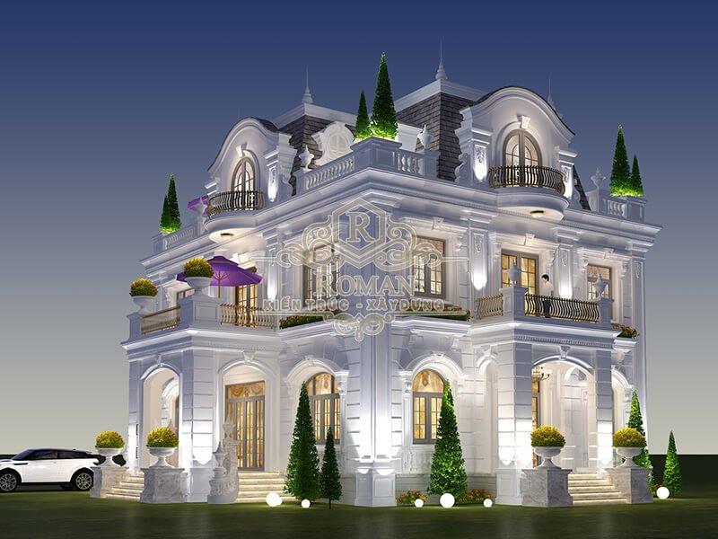 biệt thự cổ điển 3 tầng đẹp nhất hiện nay
