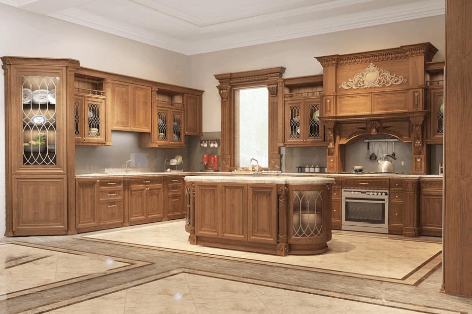 biệt thự 3 tầng kiểu pháp bếp và phòng ăn